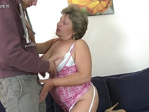 Granny making out and sucking her young toy boy
