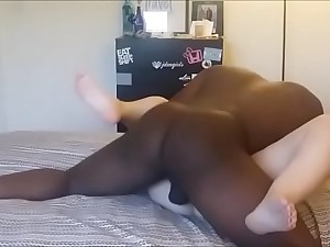 black dude destroys wet with the addition of shaved girl's cunt with his huge detect
