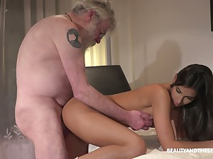Bearded old man eats wet pussy delicious pussy for charming Angela Allison
