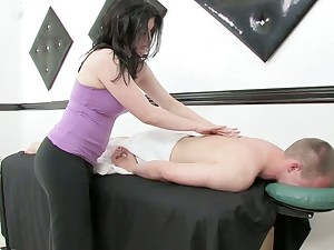 Lustful masseuse gives a massage and rides a blarney find out steamy blarney riding session