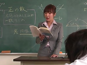 Lecturer helps a well-draped schoolgirl almost zilch burnish apply lesson